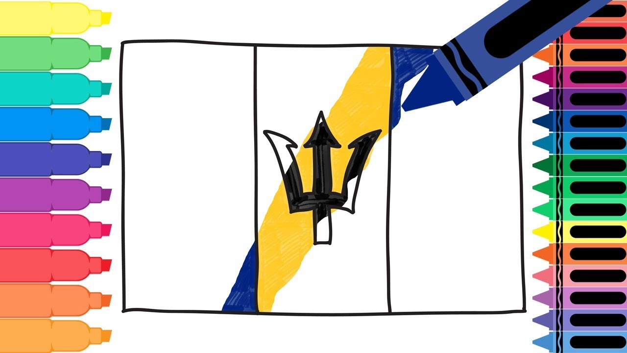 How to draw barbados flag drawing the barbadian flag for Barbados flag coloring page