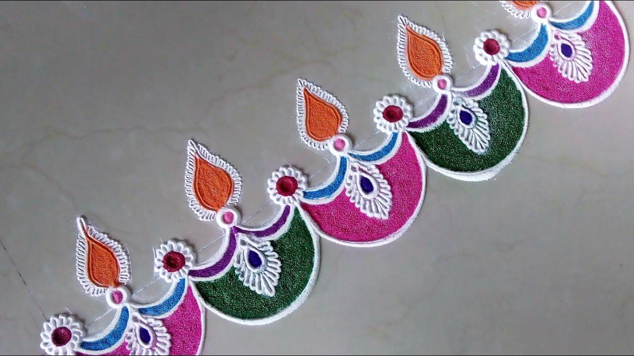 Super easy and creative diya rangoli designs diwali for Door rangoli design images