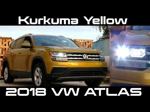 😎 Kurkuma Yellow 2018 VW Atlas S - Full REVIEW   Drive, Interior & Exterior plus LED Lighting
