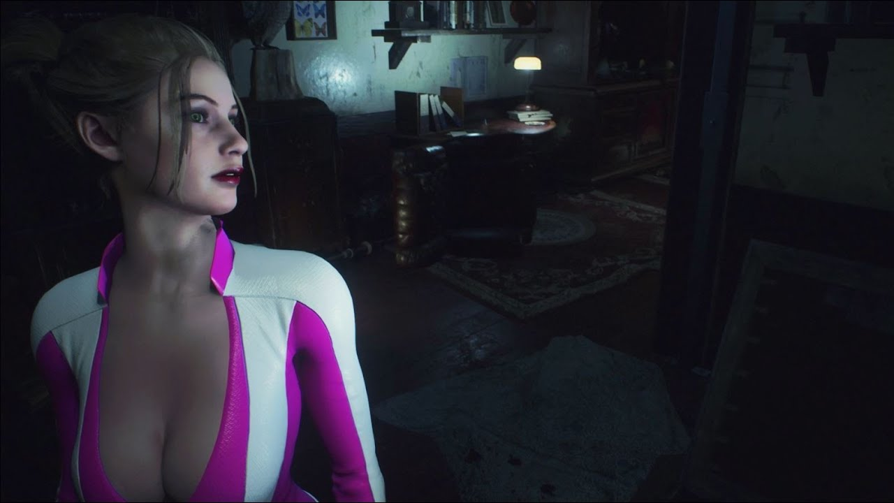 Resident Evil 2 Remake Claire Hot Pink Bond Girl Outfit with Jiggle Physics Gameplay PC Mod