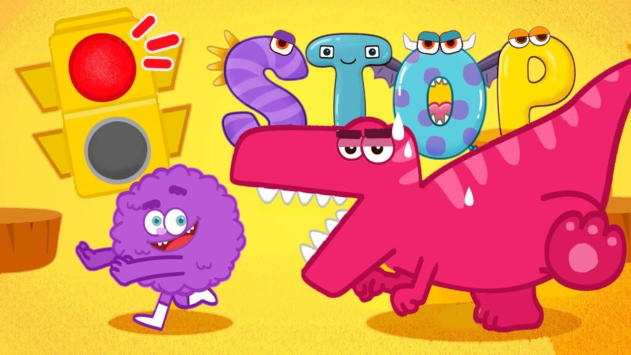 Red light stop & Green light go song - dinosaur & monster nursery rhymes