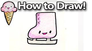 How to Draw A Figure Skate Cartoon Step by Step  Easy for Beginners - kawaii