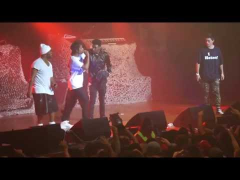 A$AP Rocky invites some New Zealanders on-stage to freestyle...