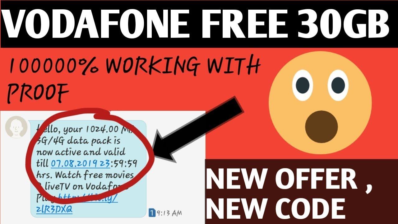 Vodafone free 30 GB data secret code 2019 100000% with proof