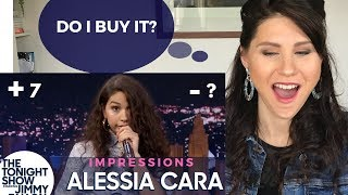 CONFIDENCE COACH reacts to Alessia Cara IMPRESSIONS - The tonight show Jimmy Fallon