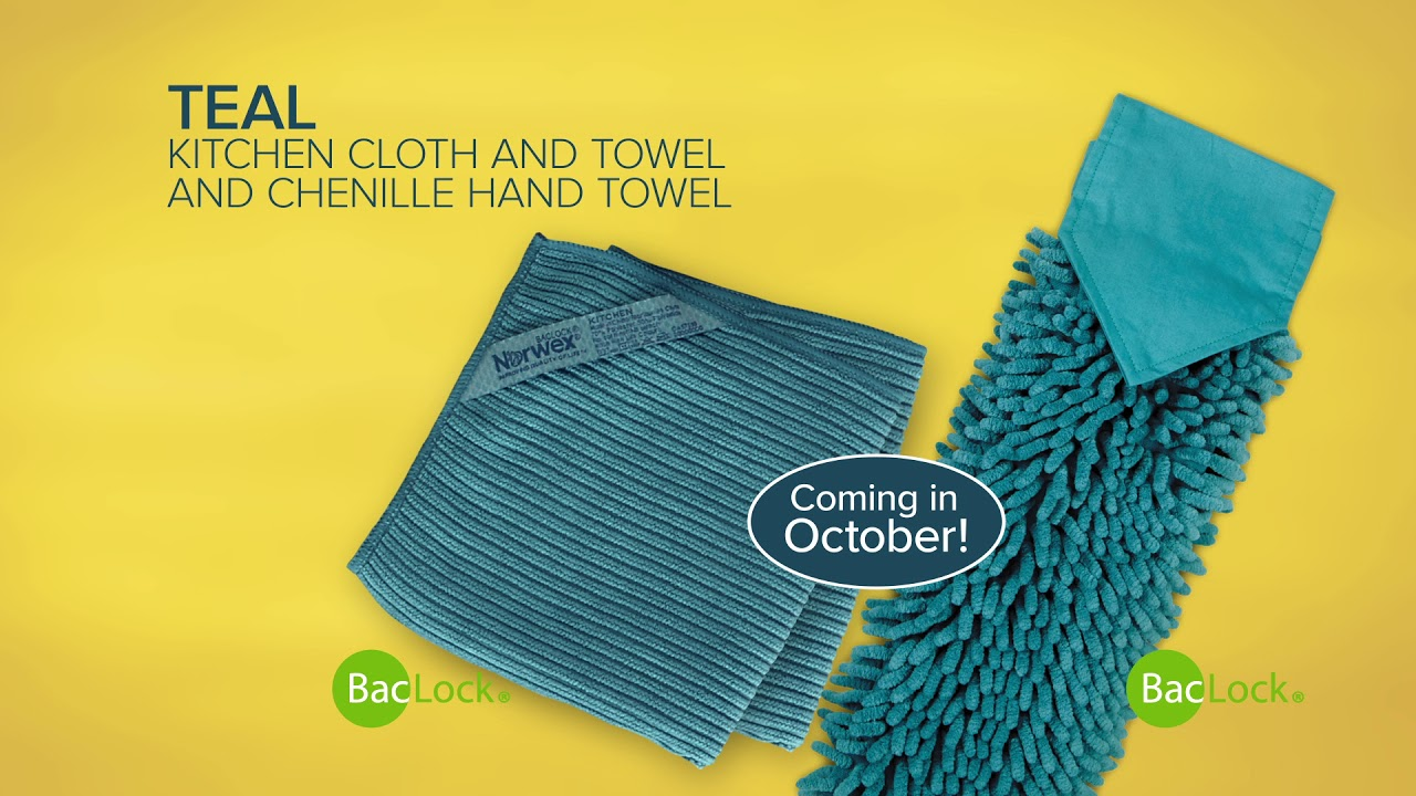 Norwex Teal Kitchen Set And Chenille Hand Towel