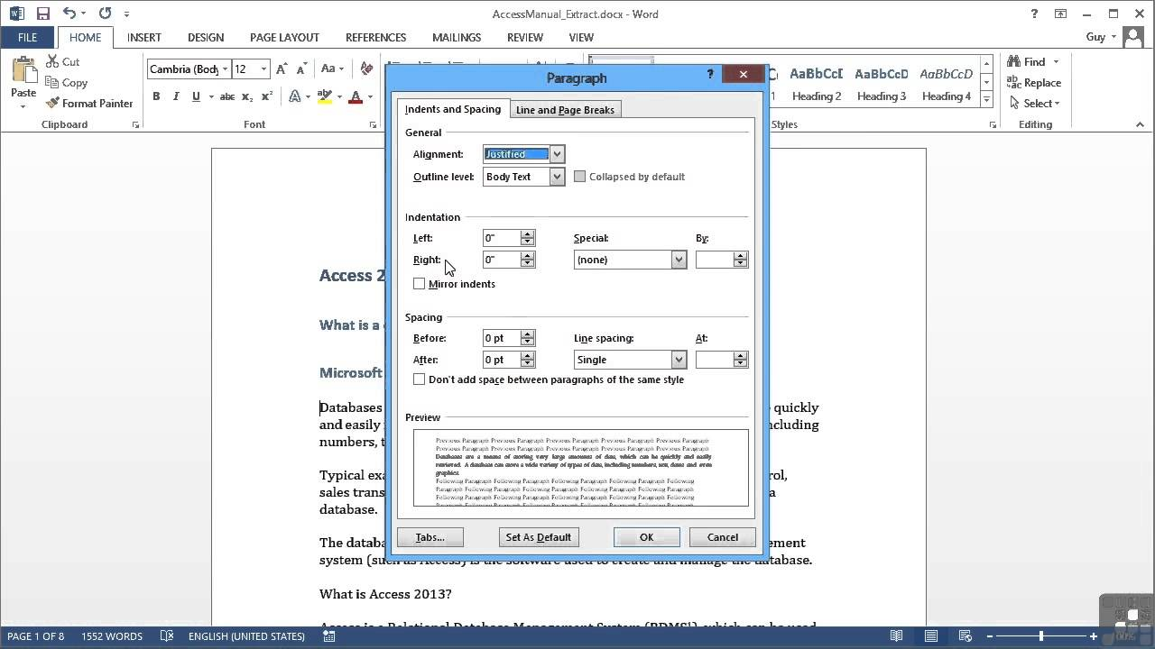 Microsoft Word 2013 Tutorial | Paragraph Alignment And ...