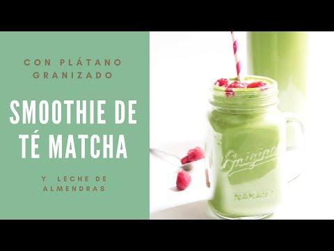 Smoothie Té Matcha y plátano granizado para adelgazar vegano
