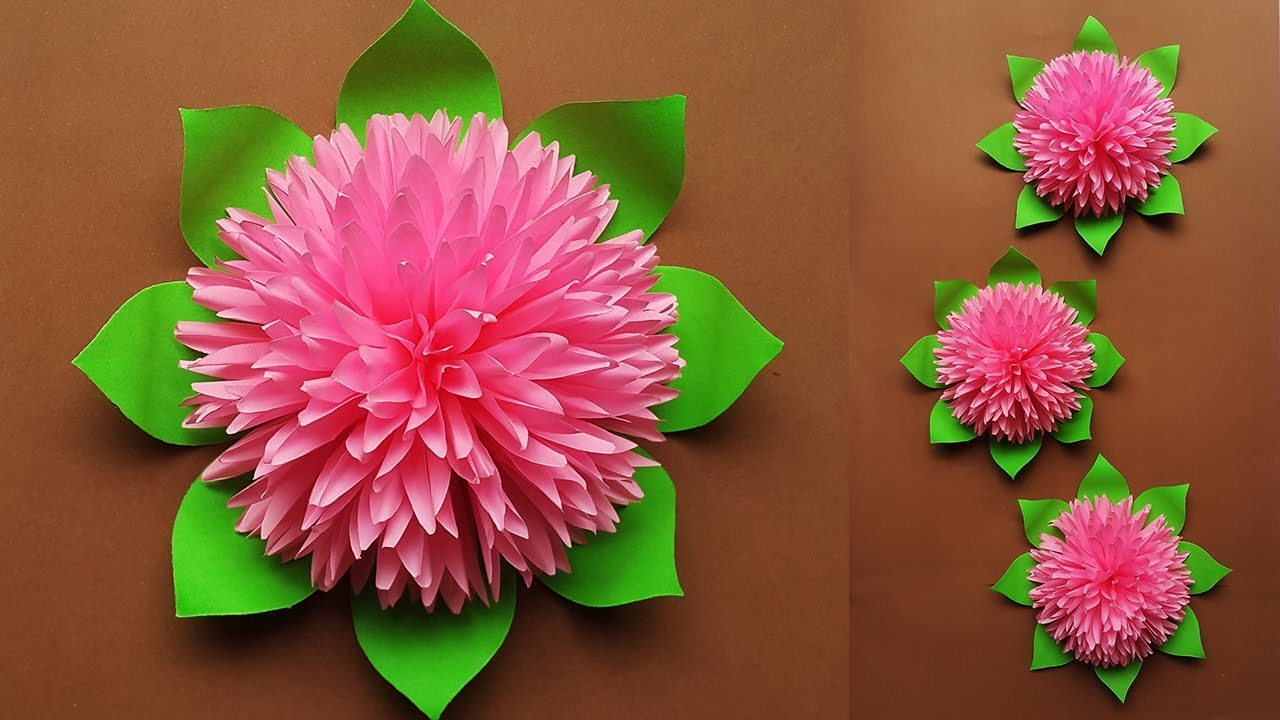 How To Make Beautiful Paper Flower For Home Decor Paper Flowers Wall Decorations