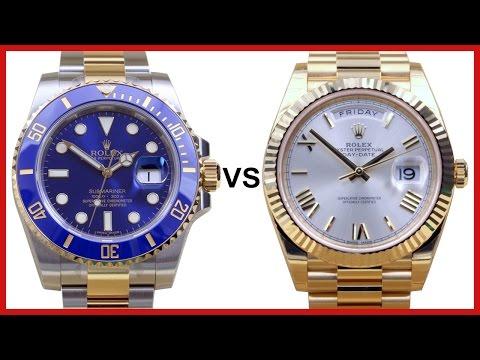 ▶ Rolex SUBMARINER two tone vs. DAY-DATE 40 yellow gold - COMPARISON
