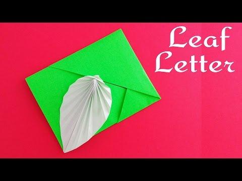 Leaf Card / Envelope / Letter (No Glue or Tape) - DIY Tutorial by Paper Folds.
