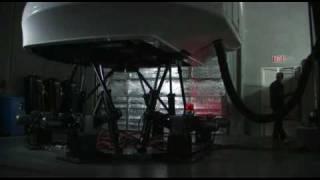 6 dof flight simulator motion base simulation running real load. Take off and landing.