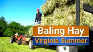 Cutting, tedding, raking and baling hay