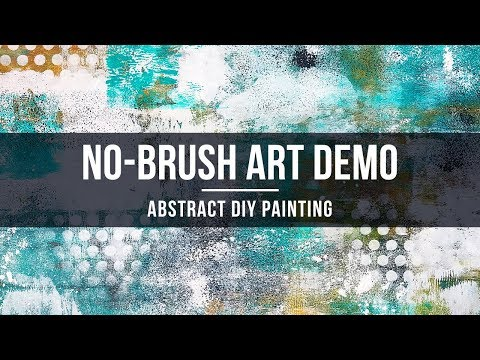 EASY No-Brush Acrylic Paint Demo / Abstract Painting Demonstration / Daily Art 065