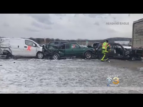 Snow Squall Causes Massive Chain-Reaction Crash In Berks County