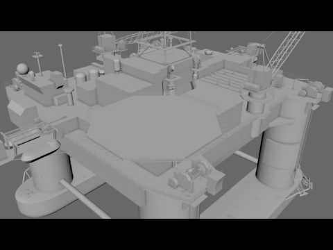 Offshore drilling platform WIP Fast preview from Maya and Afterefffects