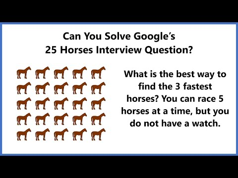 How To Solve Google's 25 Horses Interview Question - YouTube