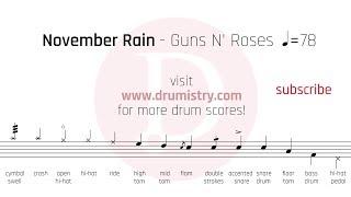 Guns N' Roses - November Rain Drum Score