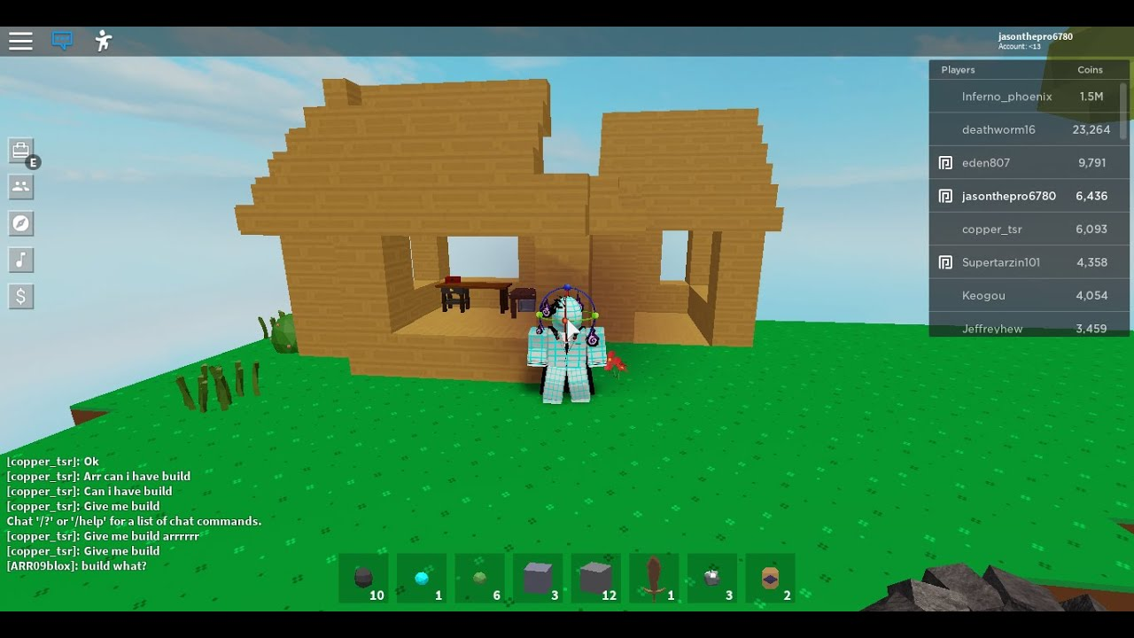 Building My First Ever House In Skyblock Beta Roblox Youtube