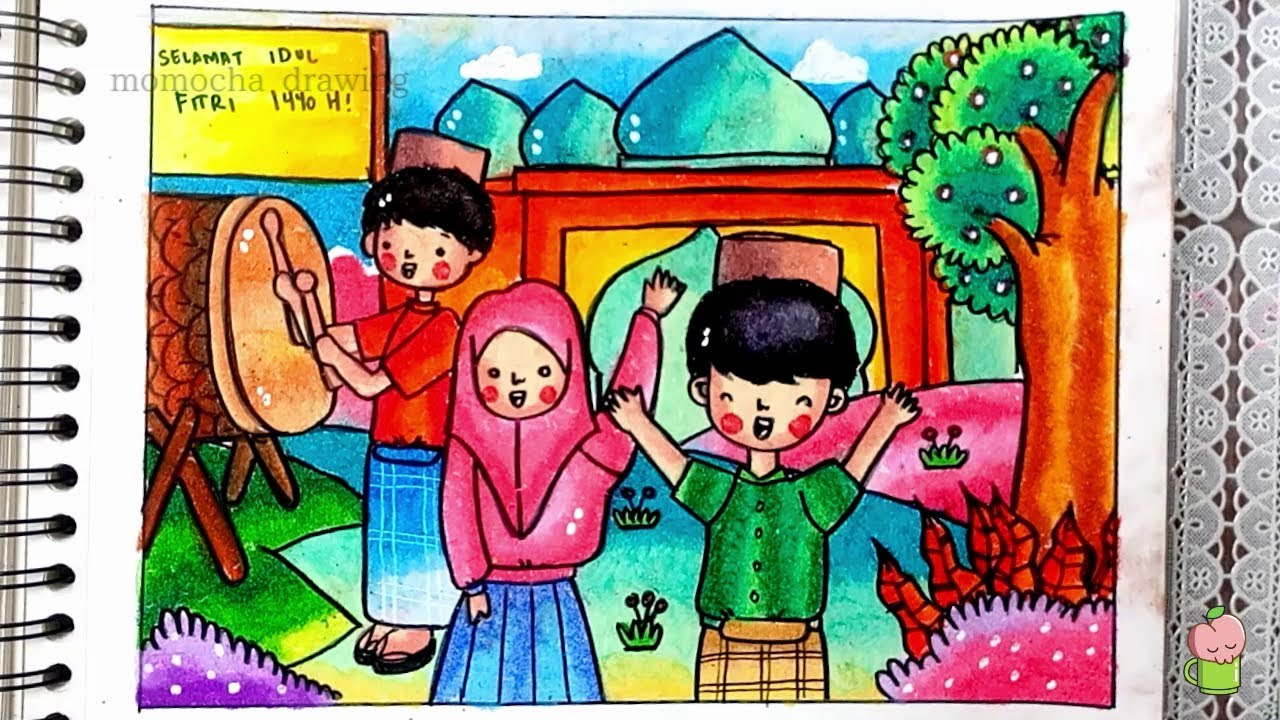 Eid Mubarak How To Draw And Color Step By Step For Kids