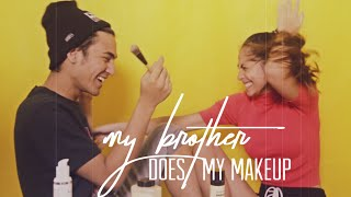 My Brother Does My Makeup Challenge | Valerie & Axel Matthew Thomas