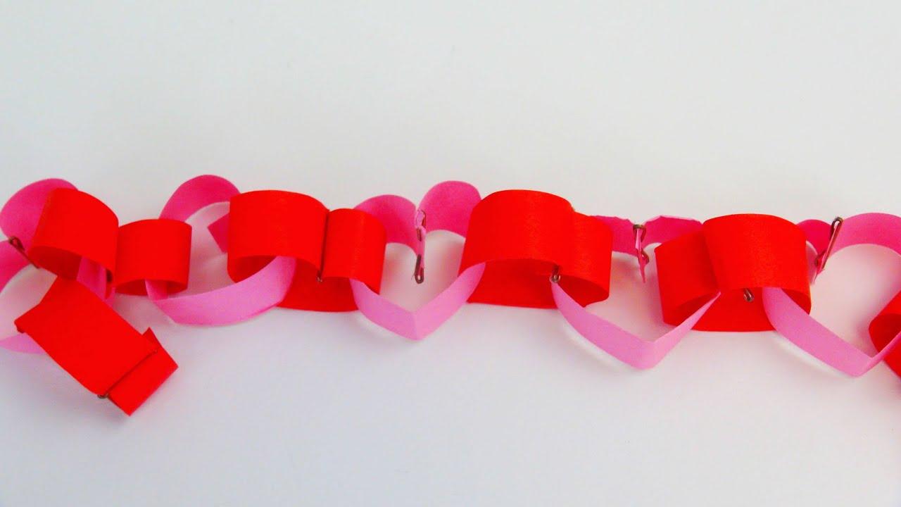 Valentinstag diy herzgirlande aus papier falten und for Girlande selbst gestalten