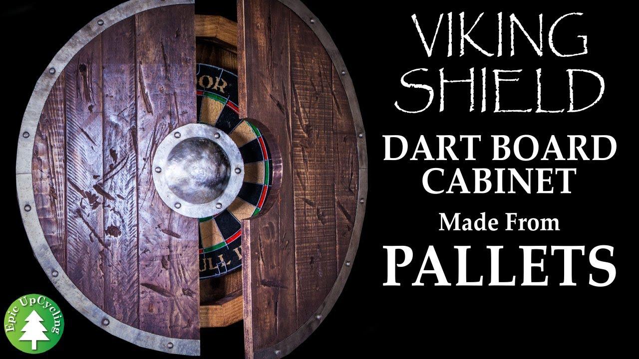 Pallet Wood and Scrap Metal Viking Shield Dart Board Cabinet.