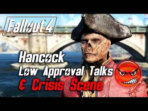 Fallout 4 - Hancock - All Low Approval Talks & Crisis Scene (Hancock Leaves Forever)