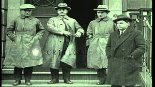 British Trade Union leaders receive Russian Trade Union leaders at Hamilton house...HD Stock Footage