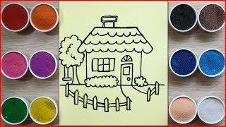 Đồ chơi trẻ em TÔ MÀU TRANH CÁT NGÔI NHÀ HẠNH PHÚC - Colored sand painting house toys (Chim Xinh)