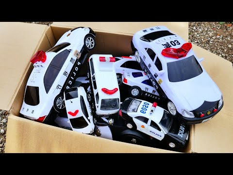 たくさんのパトカーを箱にまとめて、坂を走らせてみました!Police Car Collection Drive A Steep Hill