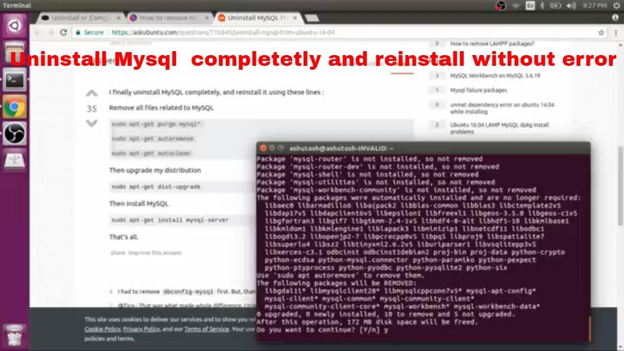 Uninstall Mysql Completely in Ubuntu 16.04 /18.04 [ Hindi ]    Install fresh mysql