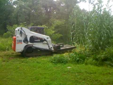 2006 Bobcat T300 With Ambusher 5ft Brush Hog Youtube