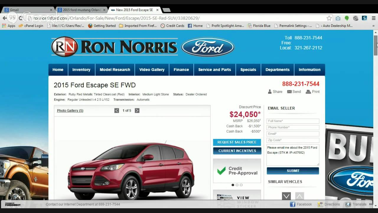 Ron Norris Ford >> 2015 Ford Escape SE FWD Orlando Fl Ron Norris Ford Review - YouTube