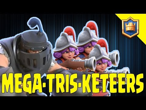 MEGA KNIGHT 3 MUSKETEERS DECK! Destroy Challenges Meta! - Clash Royale