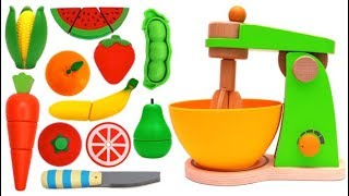 Learn Fruits & Vegetables with Toy Mixer Playset & Velcro Toys Play Making Squishy Hamburger