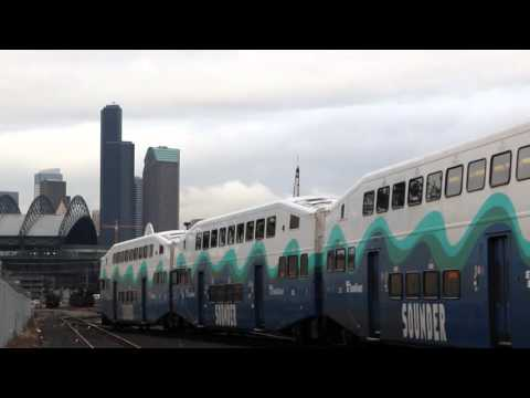 Amtrak, BNSF and Sounder Trains at Seattle and Tukwila 1/13/16