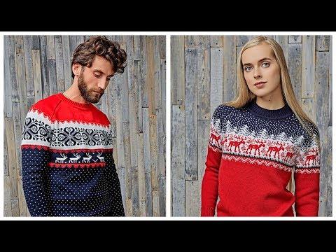 Новогодний шерстяной свитер с оленями обзор / Свитер из шерсти для мужчин и женщин купить