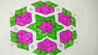 Rangoli 15X8 middle dots new rose design