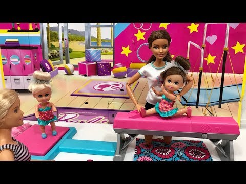 Barbie Gymnastics Set! Haley and Ally go to the GYM!