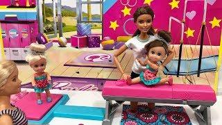 barbie gymnastics set haley and ally go to the gym