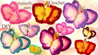 Repeat youtube video Aprende Como tejer a Crochet fácil  Mariposas en 3D con alas de Colores- How to Crochet butterfly
