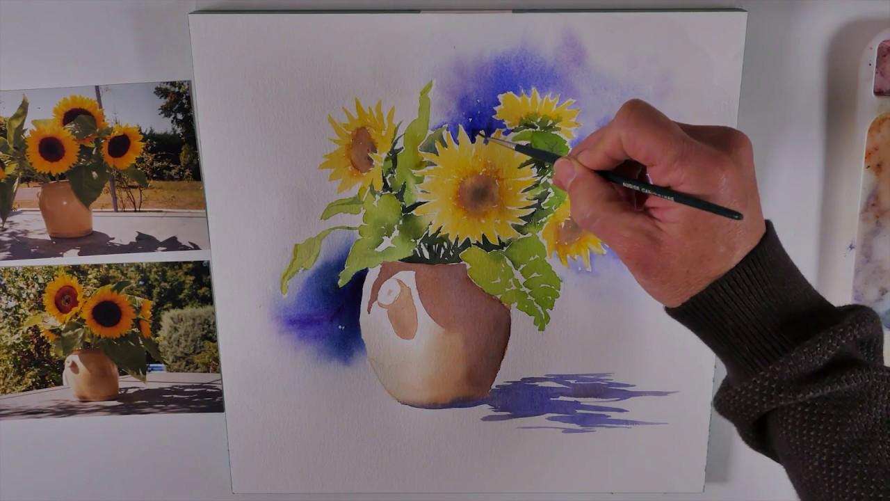 tuto aquarelle bouquet de tournesols watercolor tutorial of sunflowers youtube. Black Bedroom Furniture Sets. Home Design Ideas