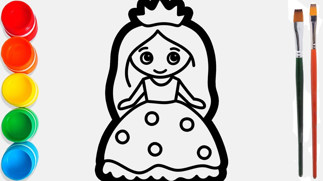 Glitter Little Princess Drawing And Coloring For Kids Toddlers Joy Kids Art Youtube
