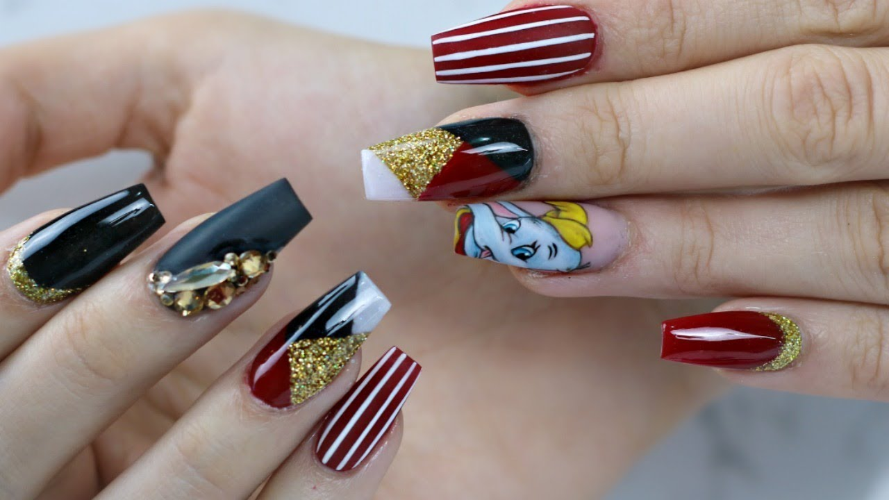 disney nail tutorial hand painted