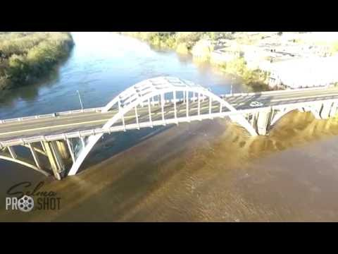 Aerial footage - Alabama River - Selma, AL - Edmund Pettus Bridge - Water rising