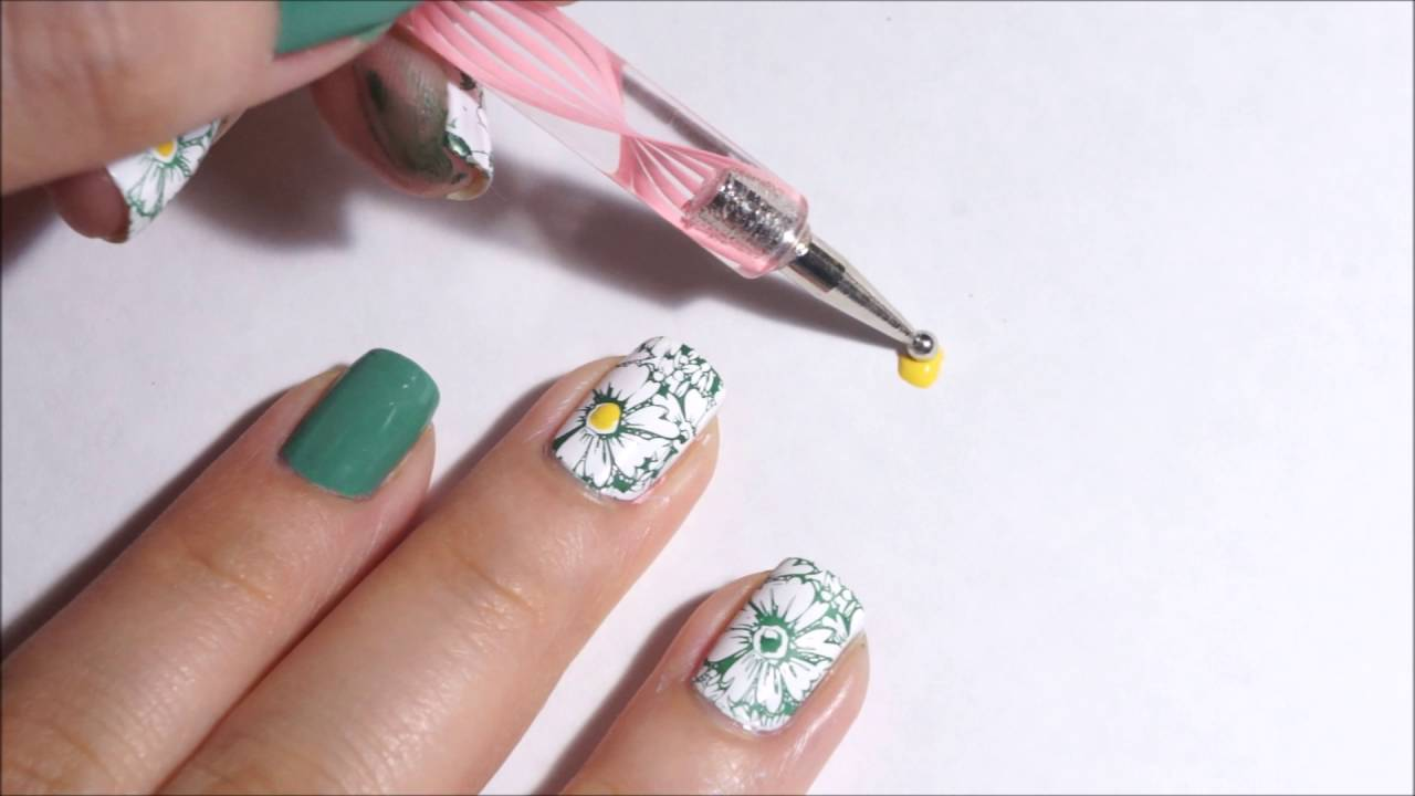 Floral Nails using Jolie Polish and image from BPL-029 plate - YouTube