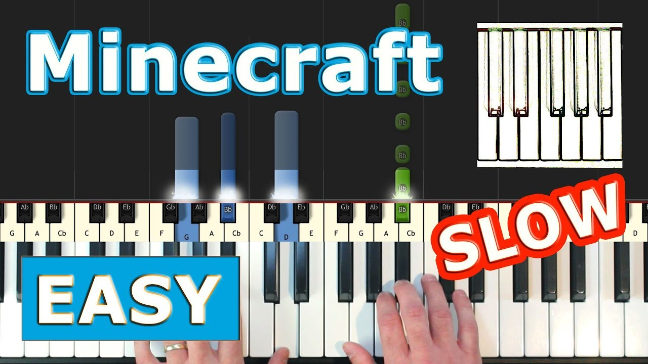 Minecraft Theme Song (Calm) - SLOW Piano Tutorial Easy - Sheet Music  (Synthesia)