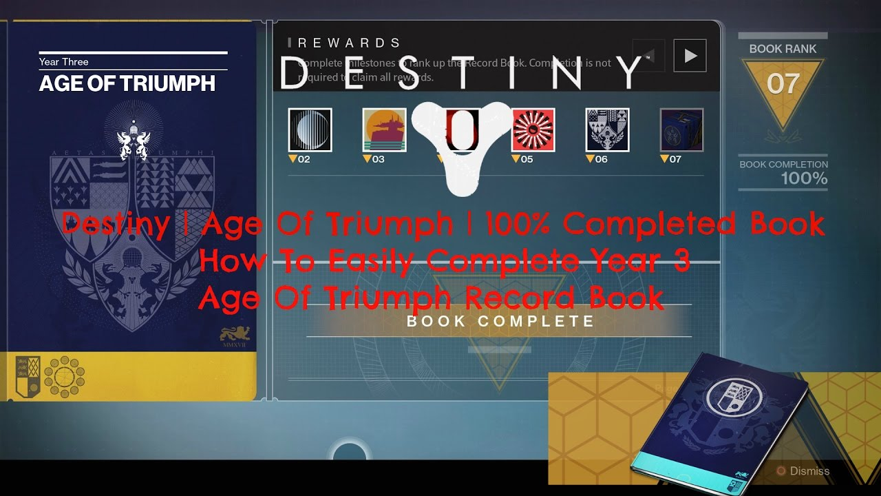 destiny | age of triumph | 100% completed book | how to easily