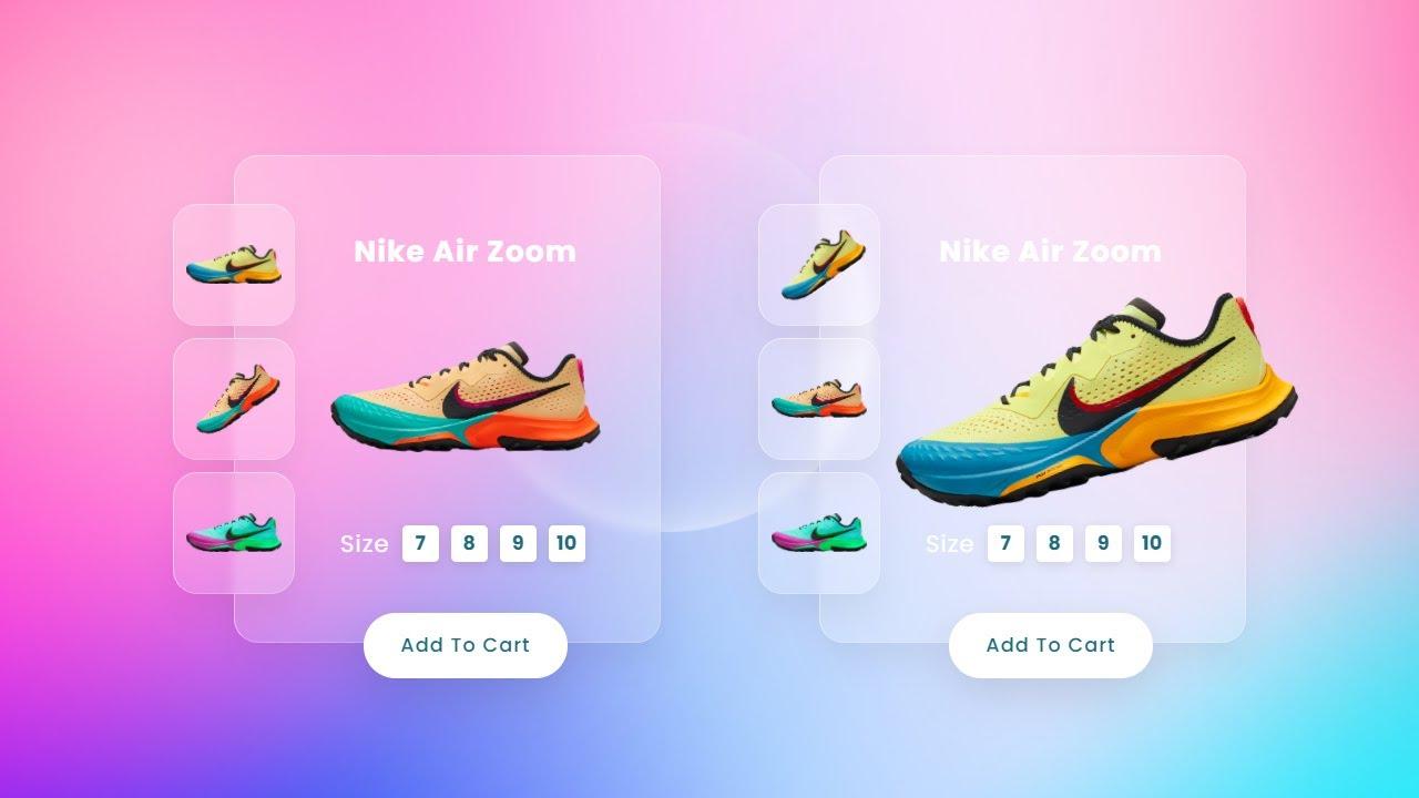 CSS Glassmorphism Product Card Slider UI Design   HTML CSS and JavaScript